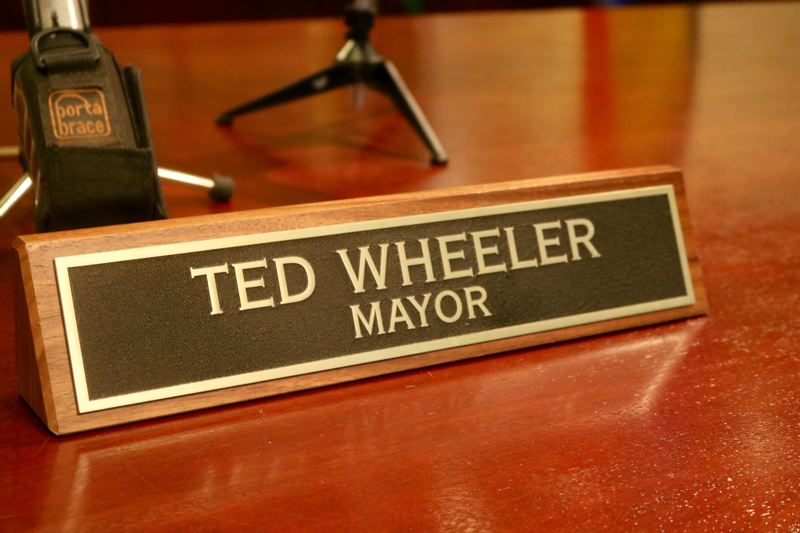TRIBUNE PHOTO: ZANE SPARLING - Mayor Ted Wheeler's nameplate at Portland City Hall.