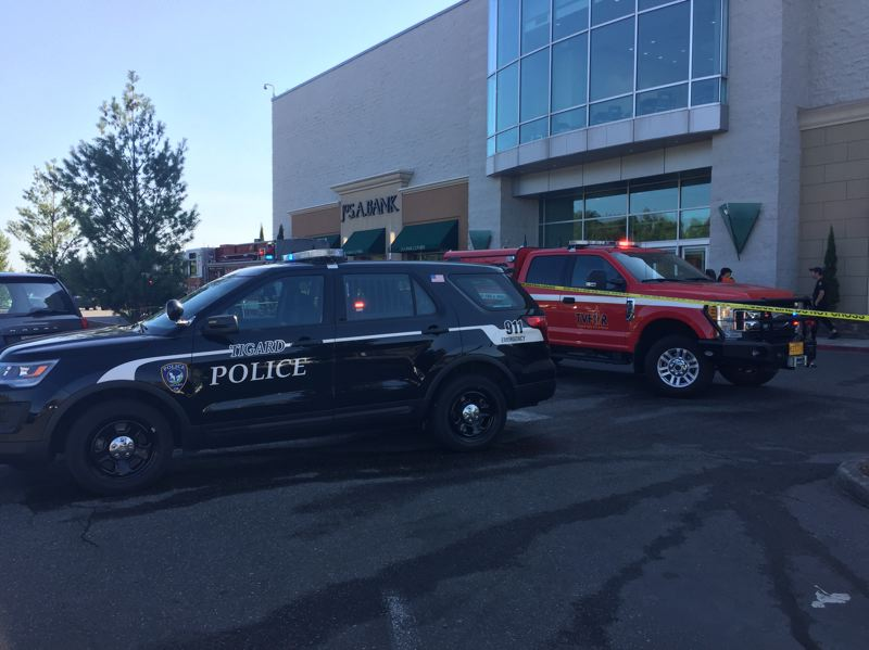 TVFR PHOTO - Tigard Police and Tualatin Valley Fire & Rescue firefighters responded to a rooftop blaze at Washington Square Mall on Saturday, July 28 in Tigard.