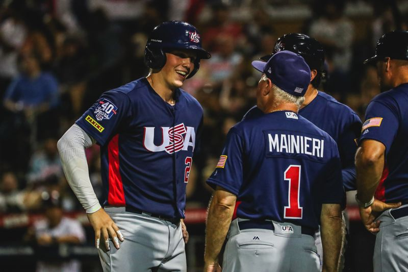 COURTESY: USA BASEBALL - Oregon State catcher Adley Rutschman (left) starred for USA Baseball in a recent five-game series against a visiting team from Japan.