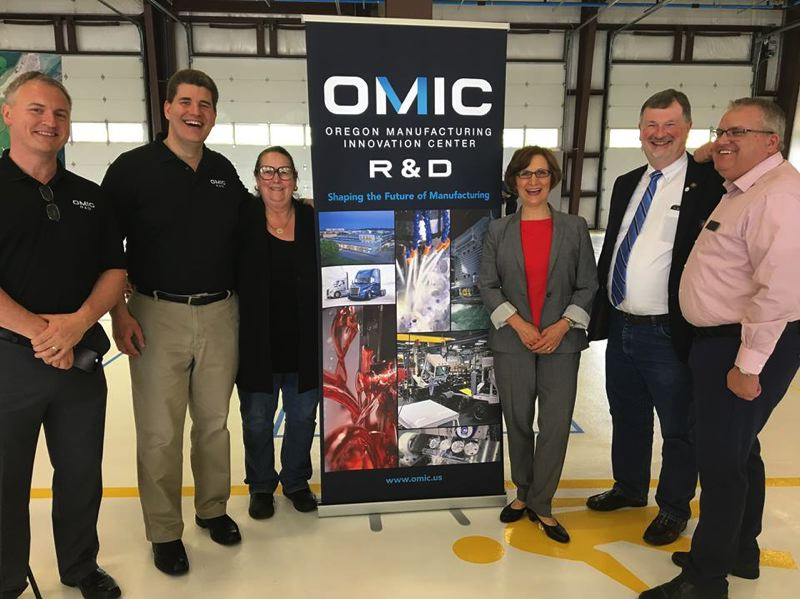 COURTESY: CONGRESSWOMAN BONAMICI'S OFFICE. - OMIC on June 1, 2018 in Scappoose.(left to right) PCC Training Director Chris Holden, OMIC R&D Executive Director Craig Campbell, State Sen. Betsy Johnson, Congresswoman Suzanne Bonamici, and State Rep. Brad Witt.