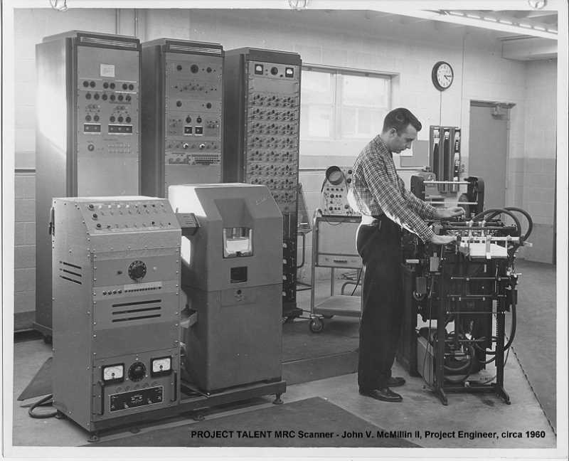 COURTESY PHOTO: PROJECT TALENT - The original Project Talent score card scanner, considered state of the art at the time, with researcher John McMillin.