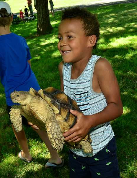 Lilo Robert gets a chance to hold one of the turtles.