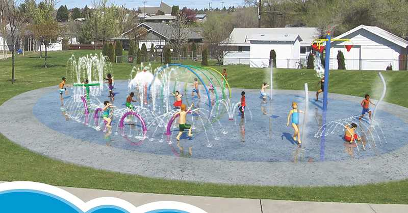 SUBMITTED ILLUSTRATION - The proposed Madras Spray Park will have nine play features.