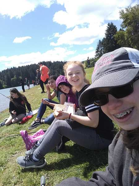 COURTESY: TRAVIS SIMPSON - Travis Simpson takes his outdoor living students at Laurel Ridge Middle School on an annual field trip to Hagg Lake.