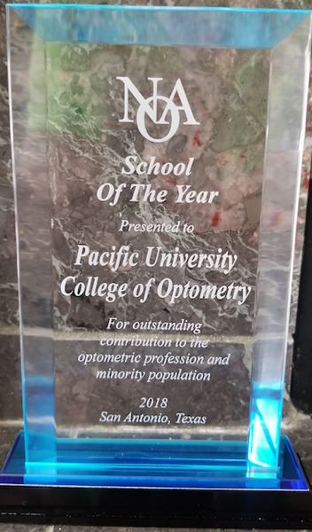COURTESY PHOTO: PACIFIC UNIVERSITY - The National Optometric Association named the Pacific University College of Optometry  its 2018 School of the Year last month.