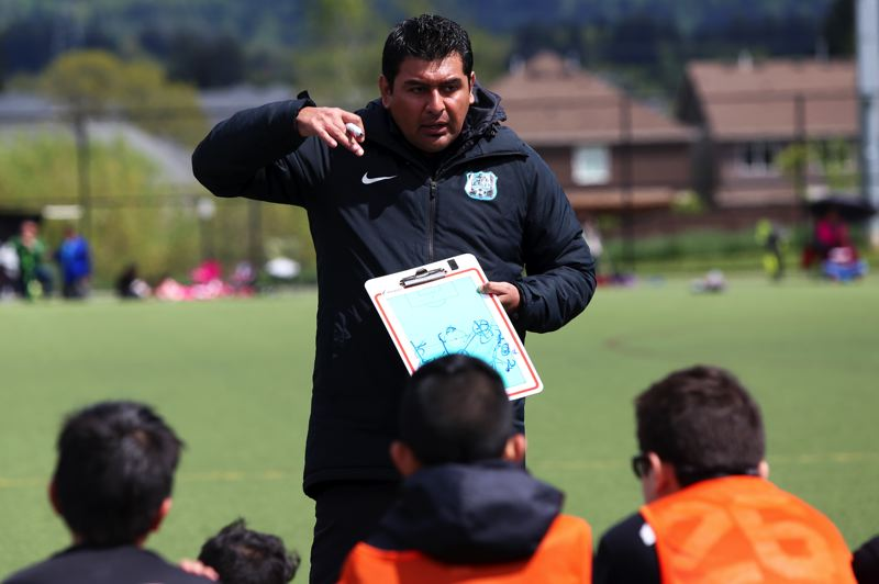 PAMPLIN MEDIA GROUP PHOTO: JESSIE DARLAND - César Fragoso, coach of the Cuervos FC, has quickly established his youth soccer team as one of the top clubs in the state.