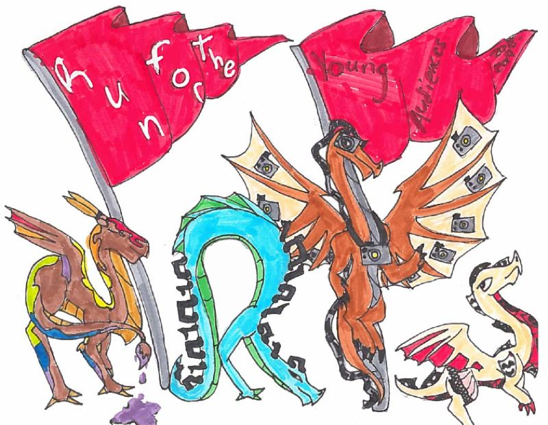 COURTESY IMAGE - Julia Ellis, a Scappoose student, won first place in a t-shirt design contest with this original piece featuring dragons as various artists in the shape of the word arts. The design will be featured on various promotional materials for Run for the Arts program in the 2018-19 school year.