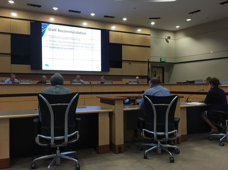THE TIMES: PETER WONG - Allen Amabisca of Save Helvetia, from left, County Commissioner Greg Malinowski and Jeannine Rustad, planning manager for Tualatin Hills Park & Recreation District, testify Wednesday, Aug. 1, at a Washington County Planning Commission hearing.