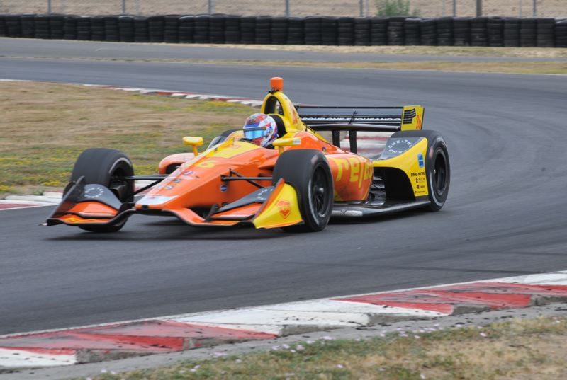 PORTLAND TRIBUNE: JEFF ZURSCHMEDIE - IndyCar rookie Zach Veach on the track at Portland International Raceway for a test day on Friday, Aug 3.