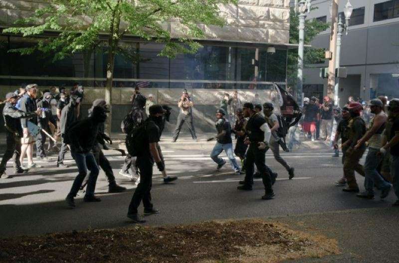 TRIBUNE FILE PHOTO - Patriot Prayer and Antifa clashed most recently on Saturday, June 30 in downtown Portland.