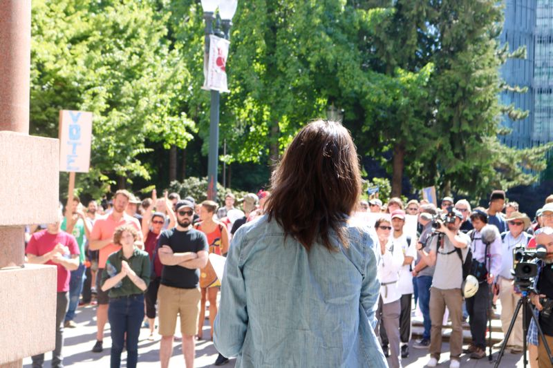 TRIBUNE PHOTO: ZANE SPARLING - A woman speaks during a Popular Mobilization rally outside Portland City Hall on Saturday, August 4.
