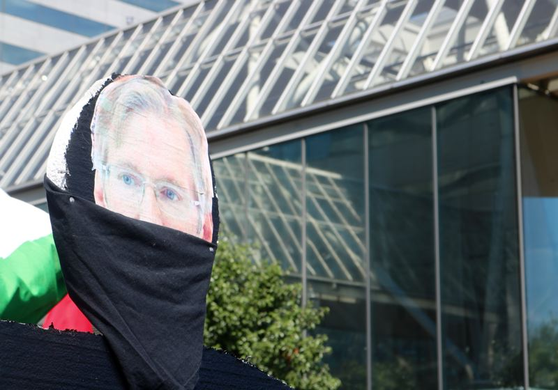 TRIBUNE PHOTO: ZANE SPARLING - The effigy of Portland Mayor Ted Wheeler known as 'Ned Wheeler.' Ned is dressed in all black like a member of Antifa.