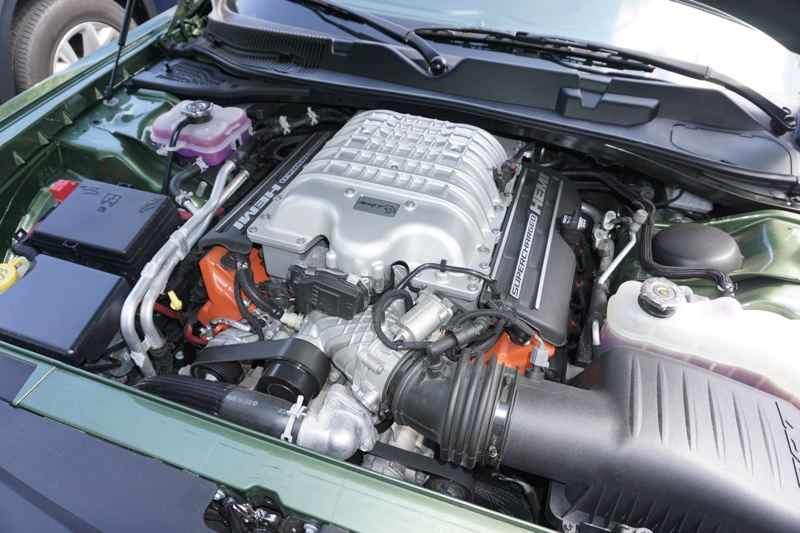PORTLAND TRIBUNE: JEFF ZURSCHMEIDE - The heart of the Challenger Hellcar is the supercharged 6.2-liter V8 that pumps ouy 707 horsepower and 650 foot pounds of torque.