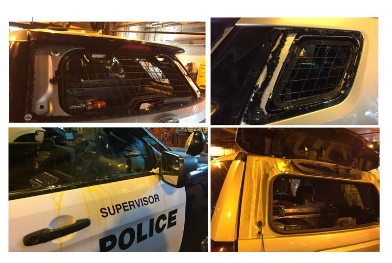 PPB PHOTO - Portland Police Bureau released these photos of damaged patrol vehicles.
