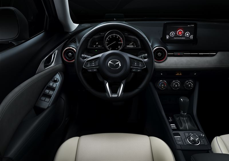 MAZDA NORTH AMERICA - Wider, more comfortable front bucket seats and higher quality interior materials mark the 2019 Mazda CX-3.