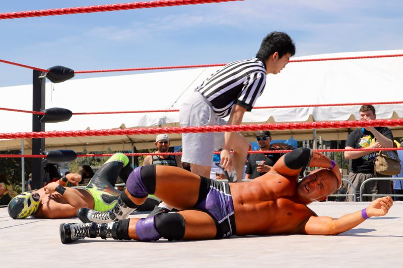 TRIBUNE PHOTO: ZANE SPARLING - The third-annual PDX Hot Sauce Expo also featured wrestling on Sunday, Aug. 5.