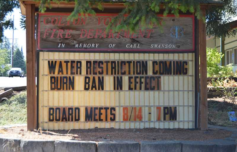 PIONEER PHOTO: CINDY FAMA - Pictured is the Colton Fire reader board as of Aug. 5.