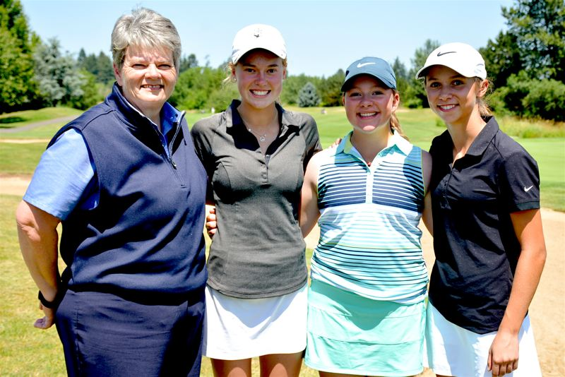 PHOTO COURTESY OF OGA - The Oregon team, including (from left) coach Shandra Imlay, Olivia Venderby, Victoria Gailey, Mary Scott Wolfe and Olivia Loberg (not pictured) finished in sixth place at the Junior Americas Cup.