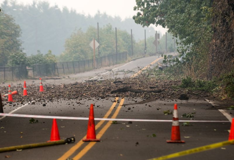 FILE PHOTO: THE OUTLOOK - This image was taken in early September 2017 while crews were still battling the Eagle Creek Fire. Almost a year later, and slides continue to occur along the Historic Columbia River Highway, preventing its long-awaited reopening.