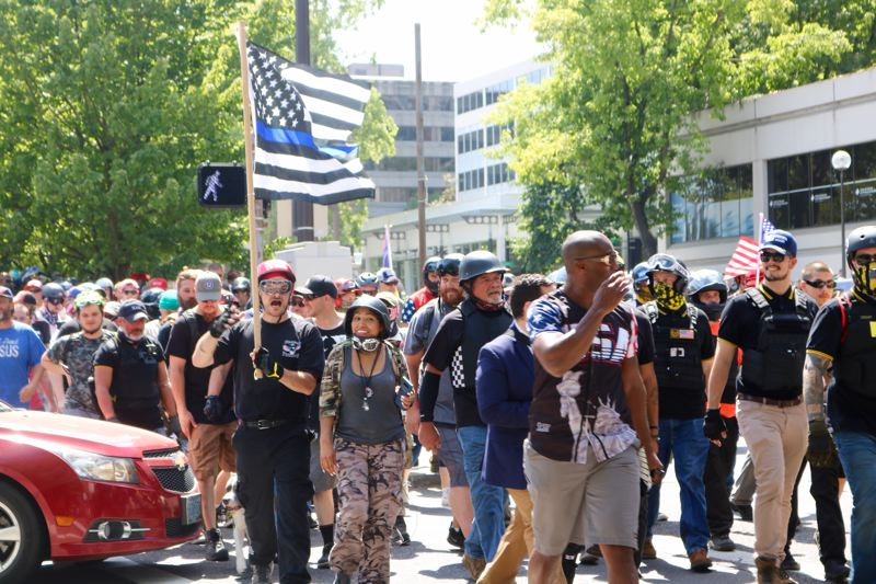 TRIBUNE PHOTO: ZANE SPARLING - Members of Patriot Prayer held an unpermitted march on Saturday, Aug. 4 in downtown Portland.