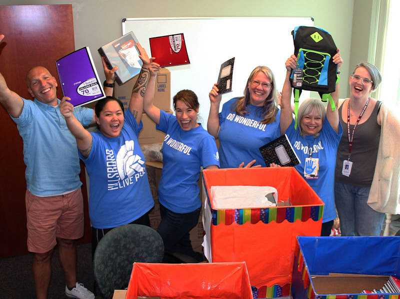 COURTESY PHOTO: INTEL INVOLVED - Volunteers with the school supply drive were able to collect enough materials to give every student in the HSDs 8.5 Summer Bridge Program a backpack filled with supplies.