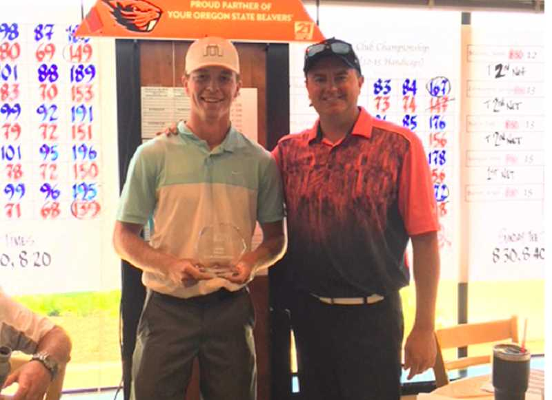 PHOTO COURTESY OF ZACH LAMPERT - Mayson Tibbs, left, stands with Zach Lampert, the Meadow Lakes Golf Club head professional, after winning the Meadow Lakes Men's League Club Championships this past weekend. Tibbs, who golfs at Oregon Institute of Technology in Klamath Falls, won the tournament for the second consecutive year.
