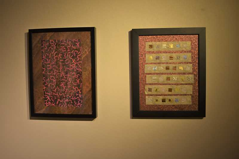 ESTACADA NEWS PHOTO: EMILY LINDSTRAND - Peggy Skycraft's collages at the Spiral Gallery incorporate a variety of papers.