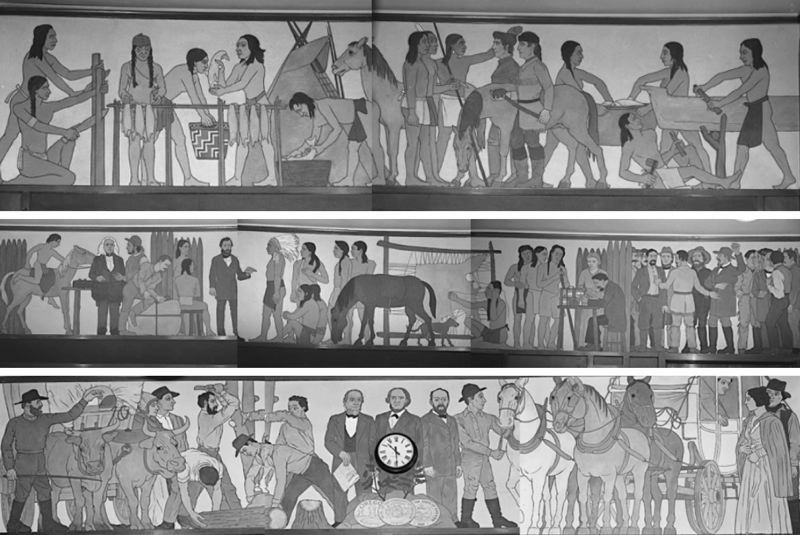 COURTESY HERITAGE CONSERVATION GROUP - Composite images show most of the mural as it looked in black-and-white photographs taken before it was painted over in approximately the year 1960.