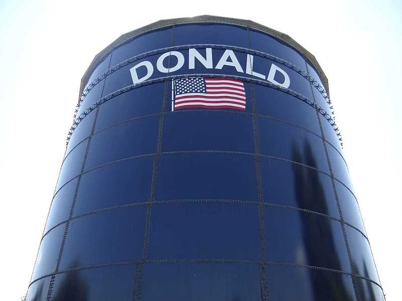 COURTESY PHOTO: CITY OF DONALD - The city of Donald is asking its residents to conserve water.
