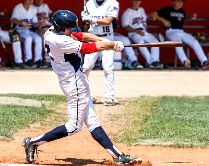 PHOTO COURTESY OF KREISBERG FAMILY - Lance Kreisberg, a Tigard High School senior-to-be, takes a swing for the Great Britain team at the 2018 European Championships.