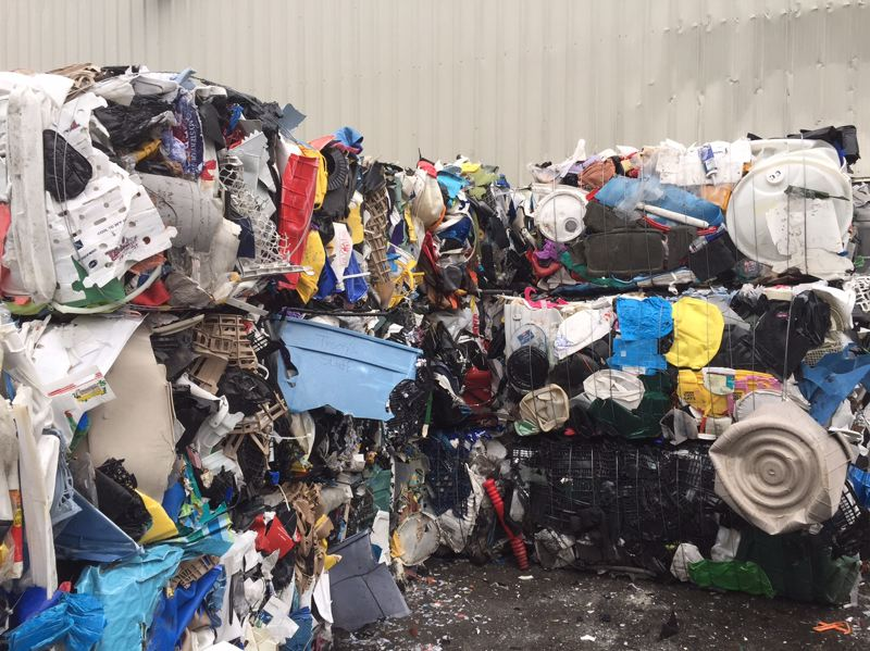 COURTESY FAR WEST RECYCLING- Bales of plastic sit waiting for buyers at Far West Recycling