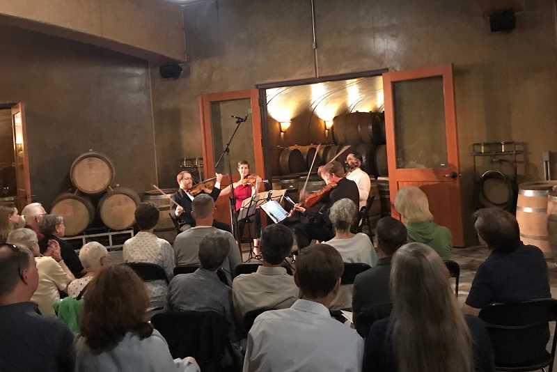 SUBMITTED PHOTO  - Willamette Valley Chamber Music Festival will present concerts in Willamette Valley wineries this month. The programs vary at each venue, as does the accompanying wine.