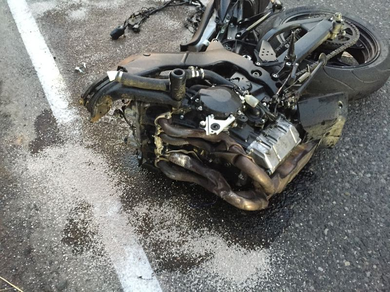 PHOTO COURTESY OF COLUMBIA COUNTY SHERIFF'S OFFICE - A portion of the motorcycle that was involved in the crash. The driver of the motorcyle was transported by Life Flight following the crash on Sunday, Aug. 5.