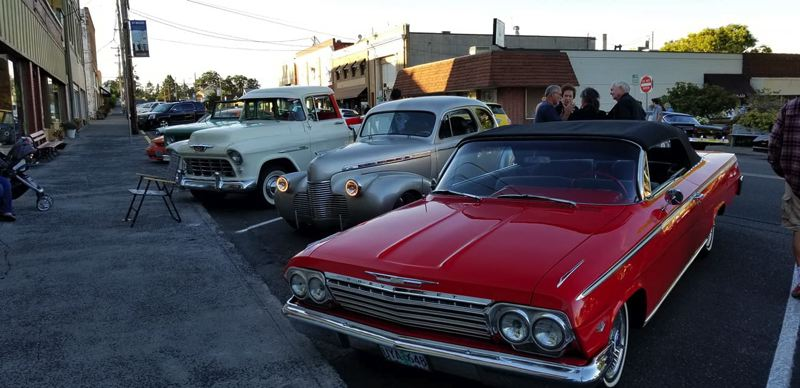 PHOTO COURTESY OF HIGHWAY 30 CRUISERS - A group of cars featured during a Highway 30 Cruisers event in St. Helens. The Highway 30 Cruisers are expecting more than 100 cars to be on display during a car show next weekend at the annual Wings & Wheels event at the Scappoose airport.