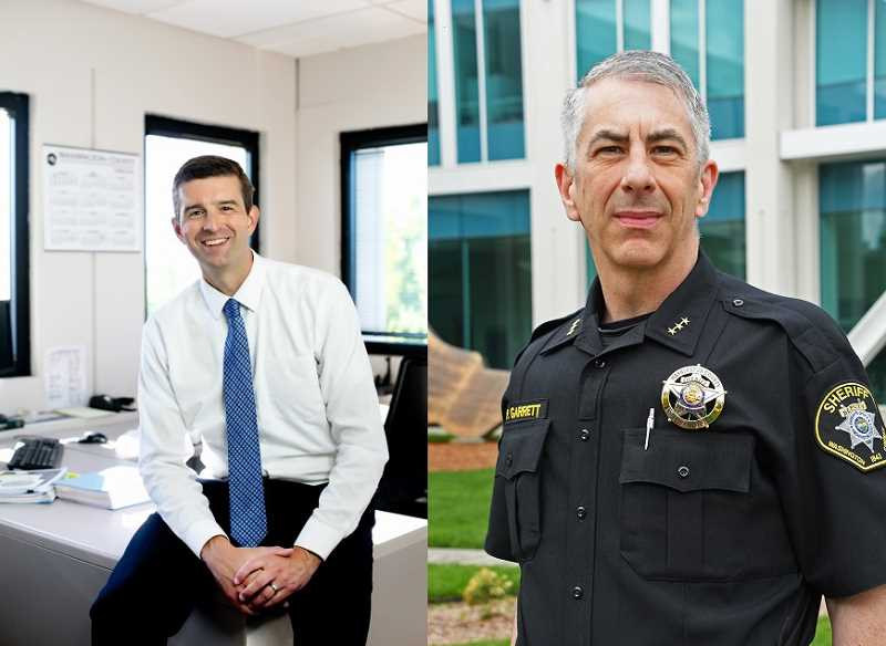 COURTESY PHOTOS - Barton, left, took office as Washington County's District Attorney last month. Pat Garrett, right, has been the sheriff of Washington County since 2011.