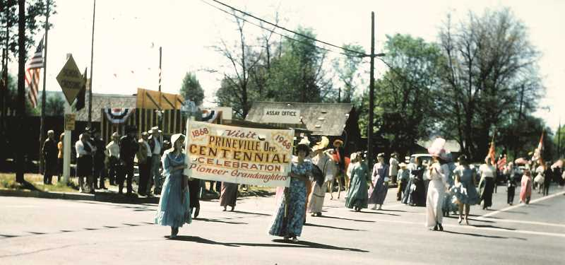 "PHOTO COURTESY OF THE BOWMAN MUSEUM - A grand parade through town, complete with period costumes, was one of the major events held during the 1968 Prineville Centennial. The year-long string of events kicked off with a square dance in January and ended with a style pageant late in the year. In August, 200 people were involved in the production of ""Thunder in the Ochoco,"" a program that drew a reported 4,000 viewers to the Crook County Fairgrounds."