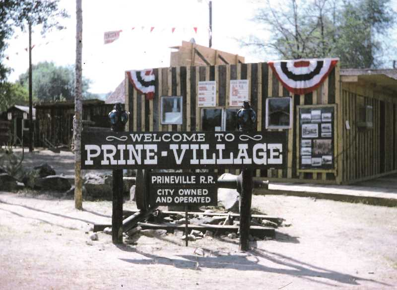 PHOTO COURTESY OF THE BOWMAN MUSEUM - The most ambitious element of the Prineville Centennial was Prine-Village, the old-West town built at what's now Pioneer Park. The buildings were recreations of those in from Prineville's earliest days.