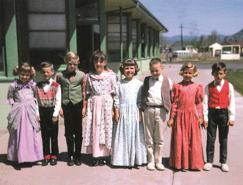 PHOTO COURTESY OF THE BOWMAN MUSEUM - Prineville school children got into the centennial spirit. These students, from Ochoco Elementary School, donned period clothing. Schools also held centennial-themed plays during the year.