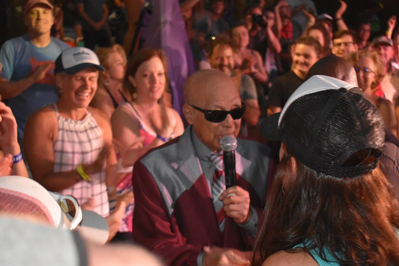 PAMPLIN MEDIA GROUP PHOTO: SHANNON O. WELLS - Jimmy Carter, the last-remaining original member of long-running gospel titans Blind Boys of Alabama, sings directly to a fan after heading into an adoring crowd at the Pickathon Woods Stage on Sunday, Aug. 5.