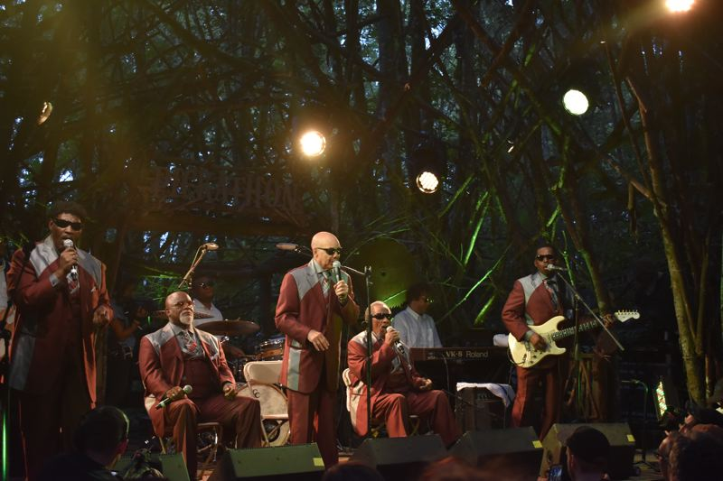 PAMPLIN MEDIA GROUP: SHANNON O. WELLS - Fronted by original member Jimmy Carter, The Blind Boys of Alabama, who first came together as schoolkids in the 1940s, brought their beautiful blend of gospel and soul sounds to Pickathon for two performances, on Saturday night at the Treeline Stage and here on the Woods Stage on Sunday evening. Fronted by original member Jimmy Carter, The Blind Boys of Alabama, who first came together as schoolkids in the 1940s, brought their beautiful blend of gospel and soul sounds to Pickathon for two performances, on Saturday night at the Treeline Stage and here on the Woods Stage on Sunday evening.