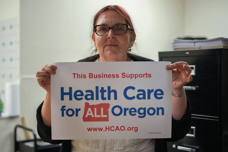 PAMPLIN MEDIA GROUP: KIT MACAVOY - Linda Alband runs Healthcare For All Oregon, a nonprofit working on a ballot measure for 2020 to bring a single payer healthcare system to Oregon. They pay $425 a month for 400 square feet, utilities included except for wi-fi. Alband is hoping her adopted Somali Bantu daughter will become an investor as a way for an immigrant to build a serious credit profile.