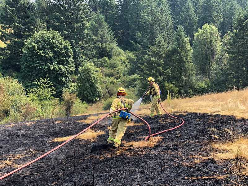 PHOTO COURTESY TVFR - The homeowner on SW Schaeffer Road attempted to solve a yellow jacket problem by setting the nest on fire, but the blaze spread quickly across the dry grounds.