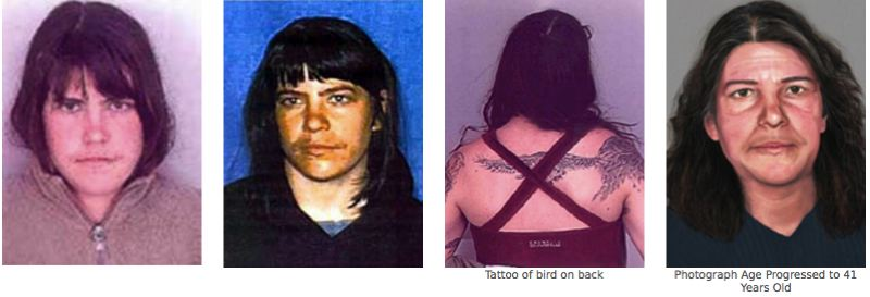 COURTESY FBI - Josephine Sunshine Overaker is shown here in a variety of photos and a computer-generated aged photo on far right.