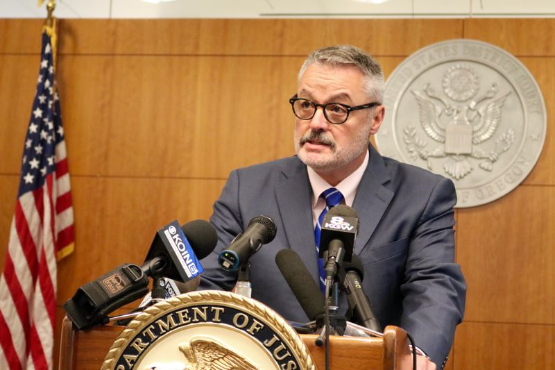 TRIBUNE PHOTO: ZANE SPARLING - U.S. Attorney for the District of Oregon Billy J. Williams is shown here speaking a news conference in the downtown federal courthouse on Friday, Aug. 10.
