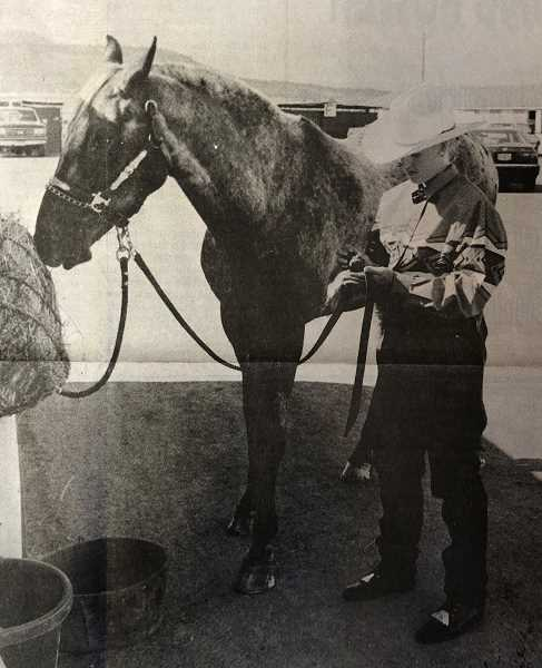 "CENTRAL OREGONIAN FILE PHOTO - August 12, 1993: Rachel Griffiths prepares ""Tuffy"" for a performance at the 1993 Crook County Fair 4-H Horse Show held Saturday morning at the Indoor Arena. The 4-H Horse Show is traditionally held before the start of the fair."