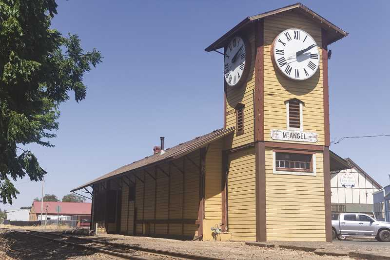 PATRICK EVANS - The Mount Angel train station was built in 1882, the same year Mount Angel Abbey was founded. The clock predates both, and was originally placed in the Marion County Courthouse in 1873.