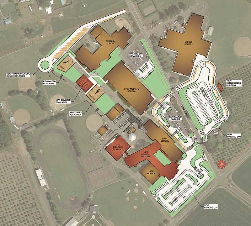 COURTESY RENDERING: NMSD - This updated master plan shows new additions, including buildings and parking, to the North Marion School District.