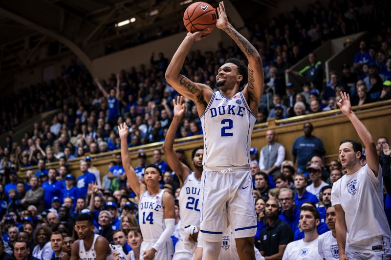 COURTESY: REAGAN LUNN/DUKE ATHLETICS - By design and through years of conditioning work guided by his father, new Trail Blazer and former Duke standout Gary Trent Jr. has developed into a sinewy, quick shooting guard with 3-point range.