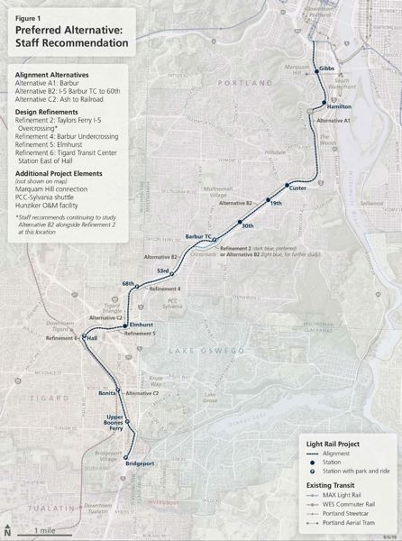COURTESY METRO - The MAX route recommended by the Southwest Corridor Community Advisory Committee.