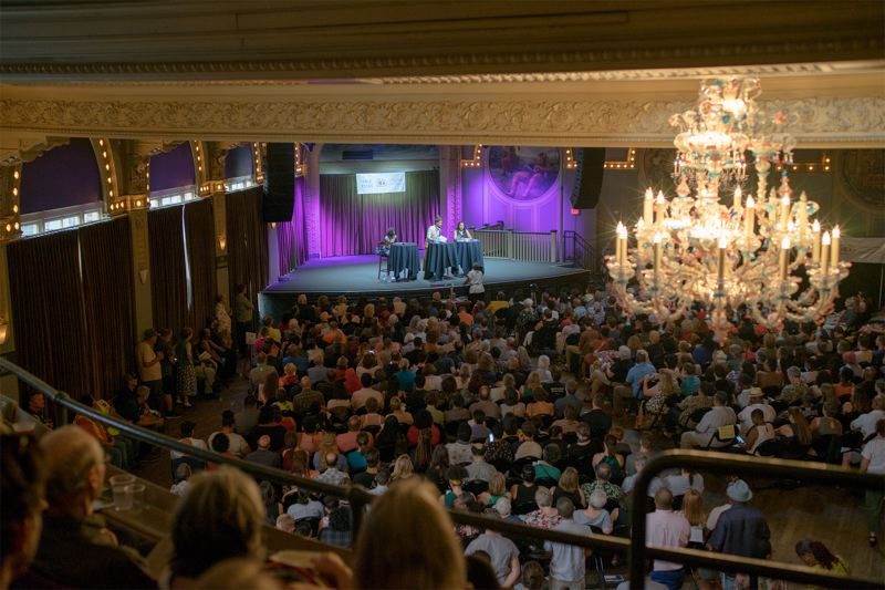 TRIBUNE PHOTO: KIT MACAVOY - The Race Talks pairing of Jo Ann Hardesty and Loretta Smith attracted a standing-room-only crowd at the Crystal Ballroom, despite the lack of air conditioning, a heat wave and unsafe air outside due to forest fires.